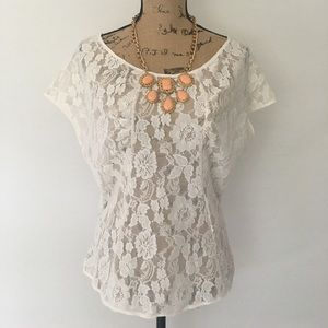 White lace top cream blouse sheer Mimi Chica
